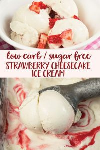 Low Carb Sugar Free Strawberry Cheesecake Ice Cream