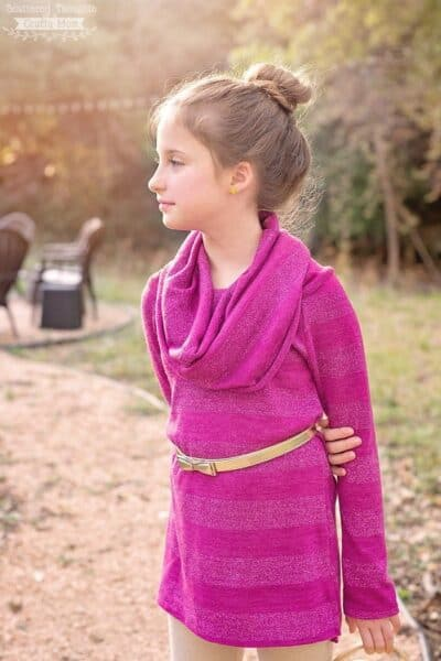 Free Sewing pattern: Girl's Cowl Neck Top
