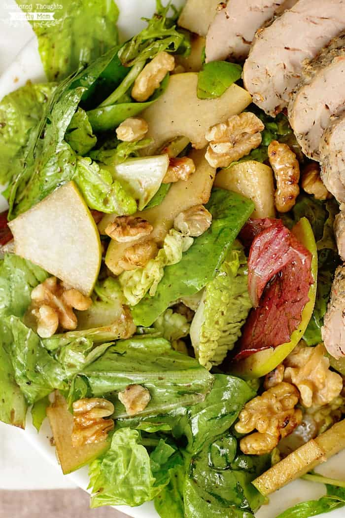 Apple, Pear and Toasted Walnut Salad w/ Pork Tenderloin