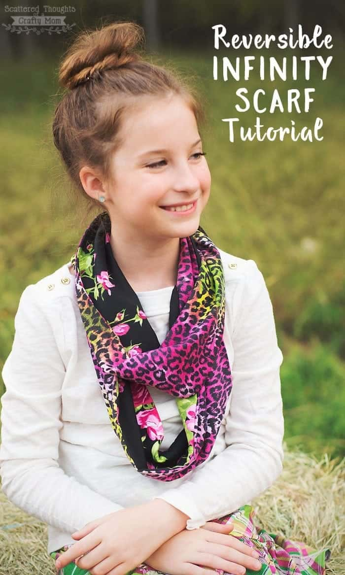 Use this Reversible Infinity Scarf tutorial to make the perfect accessory for almost any outfit! If you've ever wanted to learn how to make an infinity scarf, this reversible scarf is really easy to make and by using two complementary fabrics you can really make your scarf stand out!