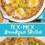 The combination of beans, green chilies and eggs, come together deliciously in this Tex-Mex Breakfast Skillet. This hearty breakfast dish is super quick to make and has a kick of spicy tex-mex flavor!