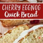 This Cherry Eggnog Quick Bread Recipe combines the classicly delicious holiday flavors of cherry and eggnog in an easy to make quick bread recipe.
