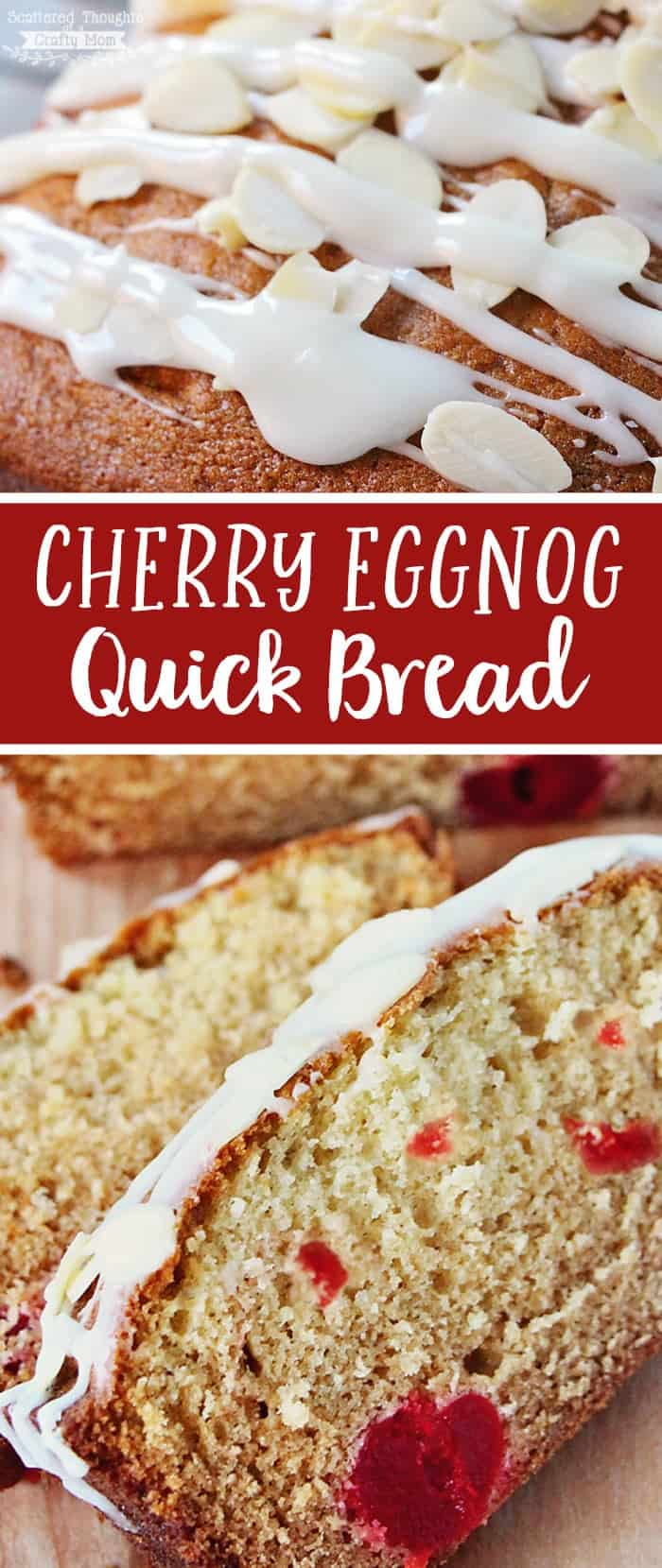 This Cherry Eggnog Quick Bread Recipe combines the classically delicious holiday flavors of cherry and eggnog in an easy to make quick bread recipe.