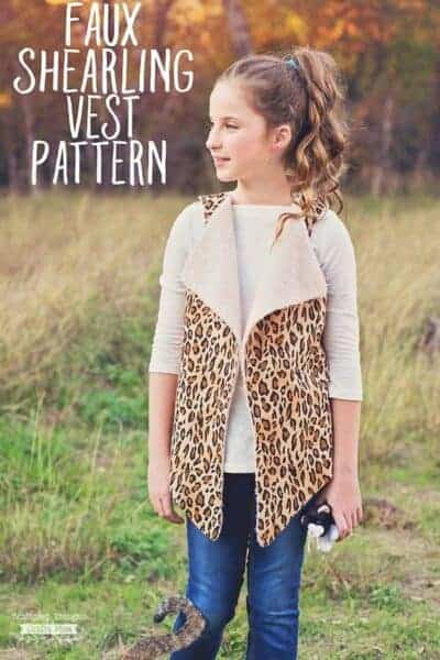 Girls Faux Shearling Vest Pattern (sz 3 to 10)