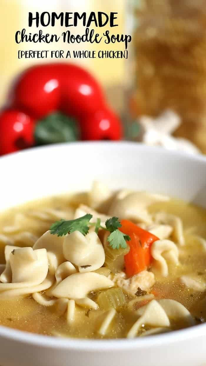 how to make homemade chicken noodle soup from a whole