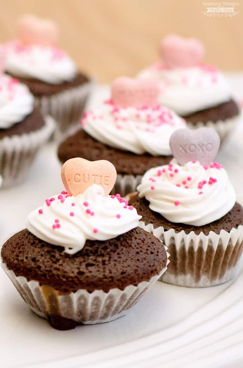 Mini Conversation Heart Cupcakes. The perfect little treat for your next Valentine's Day Party!