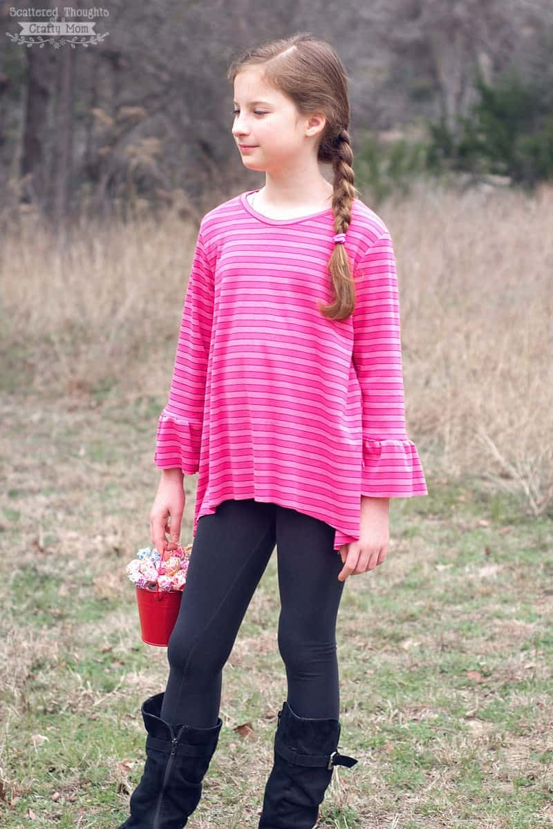 Free Bell Sleeve Swing Tee Sewing Pattern for girls. The T-shirt pattern comes in girl's sizes 3 to 12. The sweet bell-sleeve and swingy style is sure to please any girly girl!