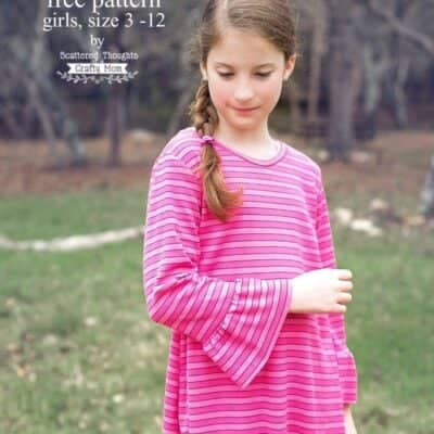Girl's Bell Sleeve Swing Tee Sewing Pattern (free sewing pattern sz 3 to 12)
