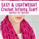 Searching for your next crochet project? Look no further, this Lightweight Crochet Infinity Scarf is perfect for spring and makes a great beginner project!