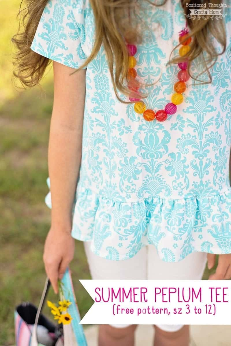 Free Sewing Pattern: Peplum Top for Girls. Size 3 to 12
