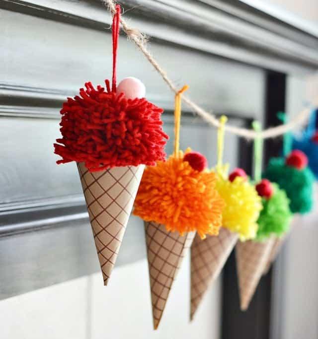 Ice Cream Cone Rainbow Garland