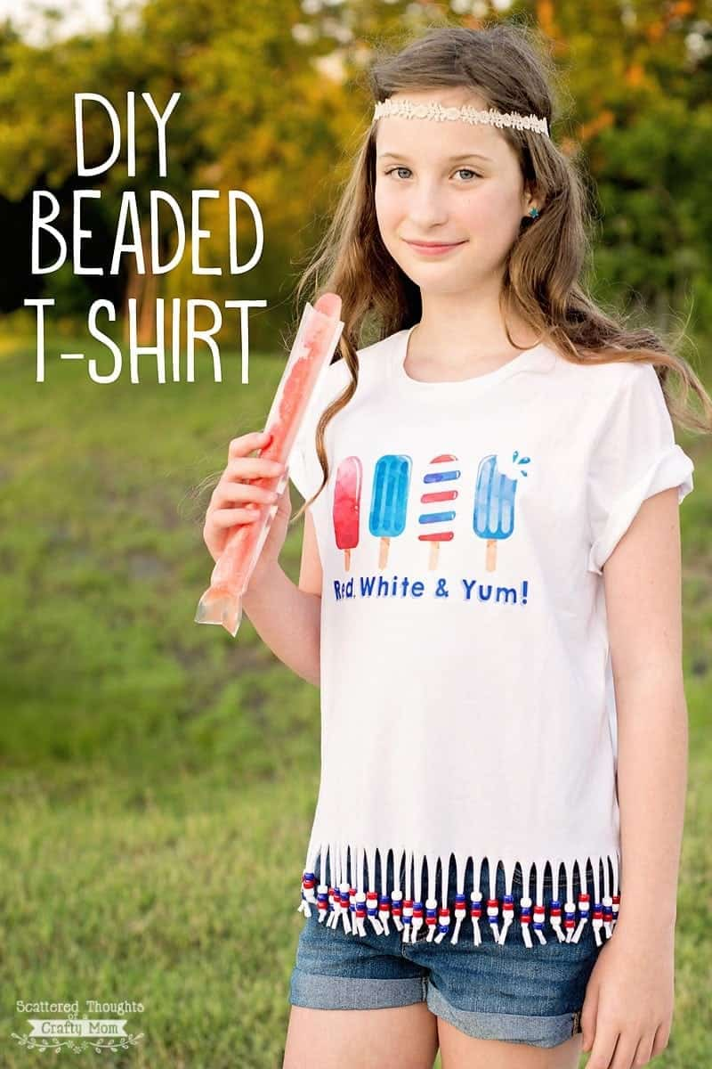 How to Make a Beaded T-shirt Tutorial - the perfect craft for summer! (plus free patriotic printable)