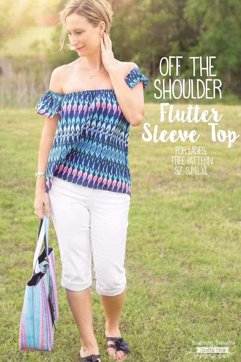 Off the shoulder flutter sleeve sewing pattern for ladies sz s xl off the shoulder top sewing pattern for women this free pdf pattern come in sises jeuxipadfo Image collections