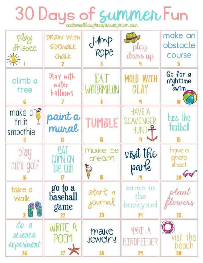 3o days of summer fun activities