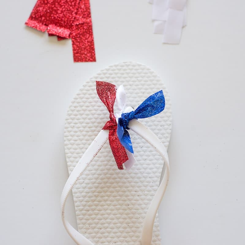 Ribbon Embellished Flip Flops