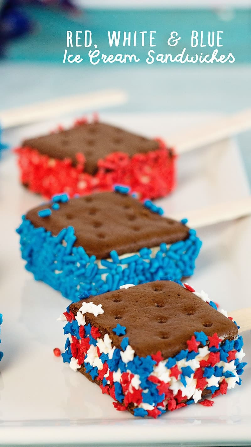 Red, White and Blue Ice Cream Sandwiches, a perfectly easy patriotic dessert!