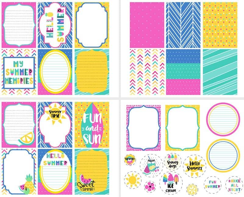 DIY Summer Memory Journal + free printable journal cards and embellishments