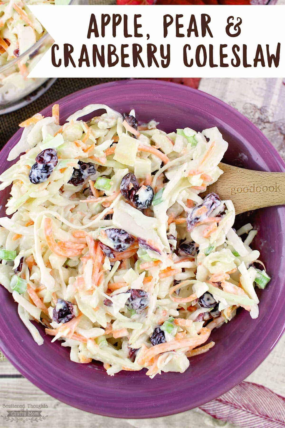 Apple Pear and Cranberry Coleslaw is crunchy, sweet and tangy, the perfect side dish for fall potlucks and so many other occasions.