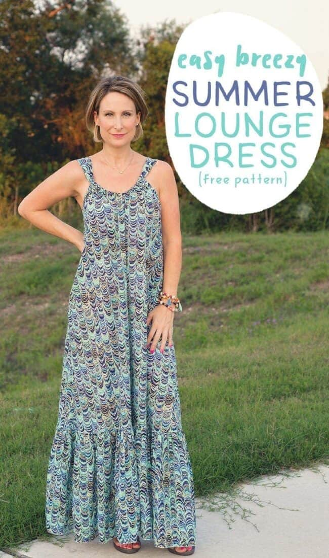 Easy Breezy Summer Lounge Dress (free sewing pattern for women)