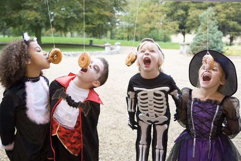17 halloween party games for kids donut on a string