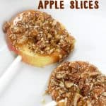 Caramel Pecan Apple Slices are a deliciously easy fall treat.  Pre-slicing the apples make them much easier to eat than a traditional caramel apple!