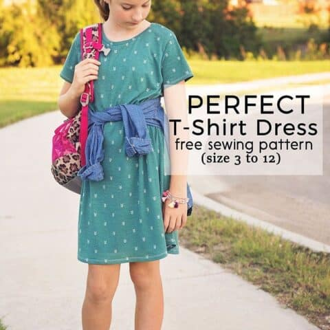Perfect T-Shirt Dress Pattern and Tutorial is a free pdf sewing pattern for girls in sizes 3 - 12. This T-Shirt Dress is a perfect transitional clothing staple that can be dressed up or down!