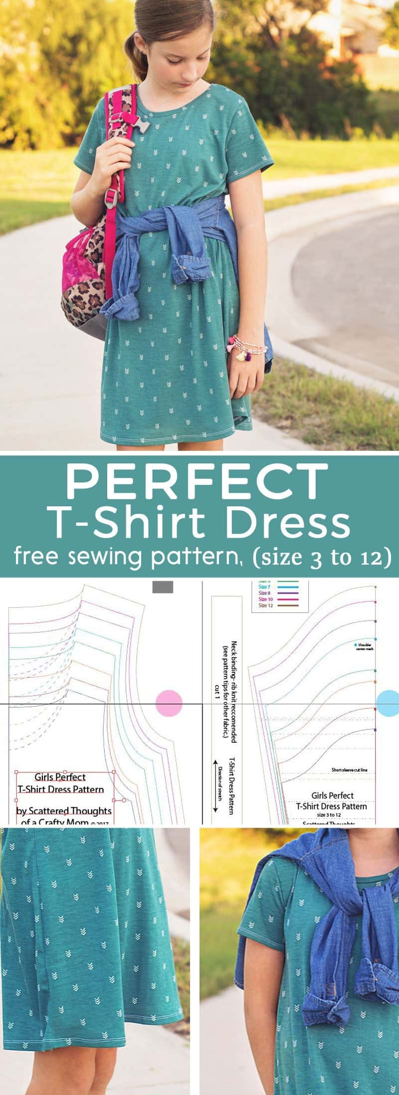 The Perfect T-shirt Dress, a free pdf sewing pattern for girls, sz 3 to 12