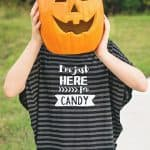 Make a Halloween T-shirt! Grab this free, I'm Just Here For The Candy SVG and PDF file to make your own Halloween t-shirt, printable or Trick or Treat bag!