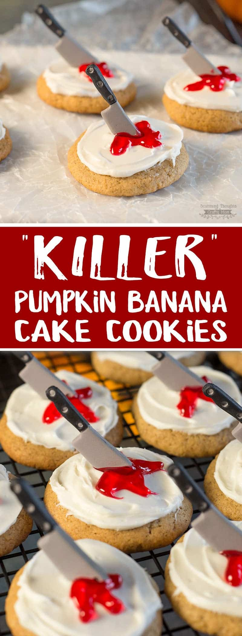 Need an easy Halloween Cookie idea? These Killer Pumpkin Banana Cookies are perfect for you Halloween Party!