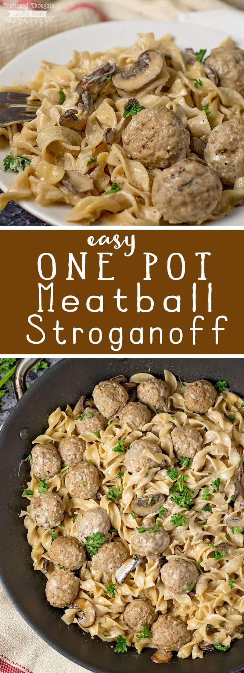 Easy One Pot Meatball Stroganoff (20 Minute Meal)   #20minutemeal #meatballstroganoff #meatballs #oneppotpasta #eggnoodles