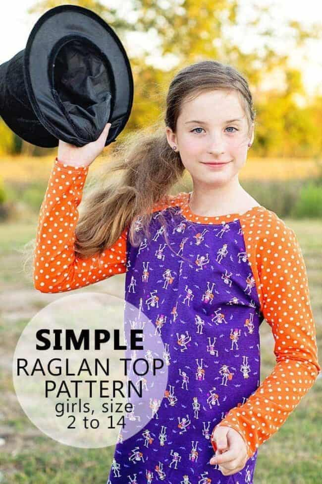 Learn how to sew a Raglan Shirt with this easy and FREE Raglan Shirt Pattern, the free sewing pattern and tutorial is available in girls sizes, 2 to 14.