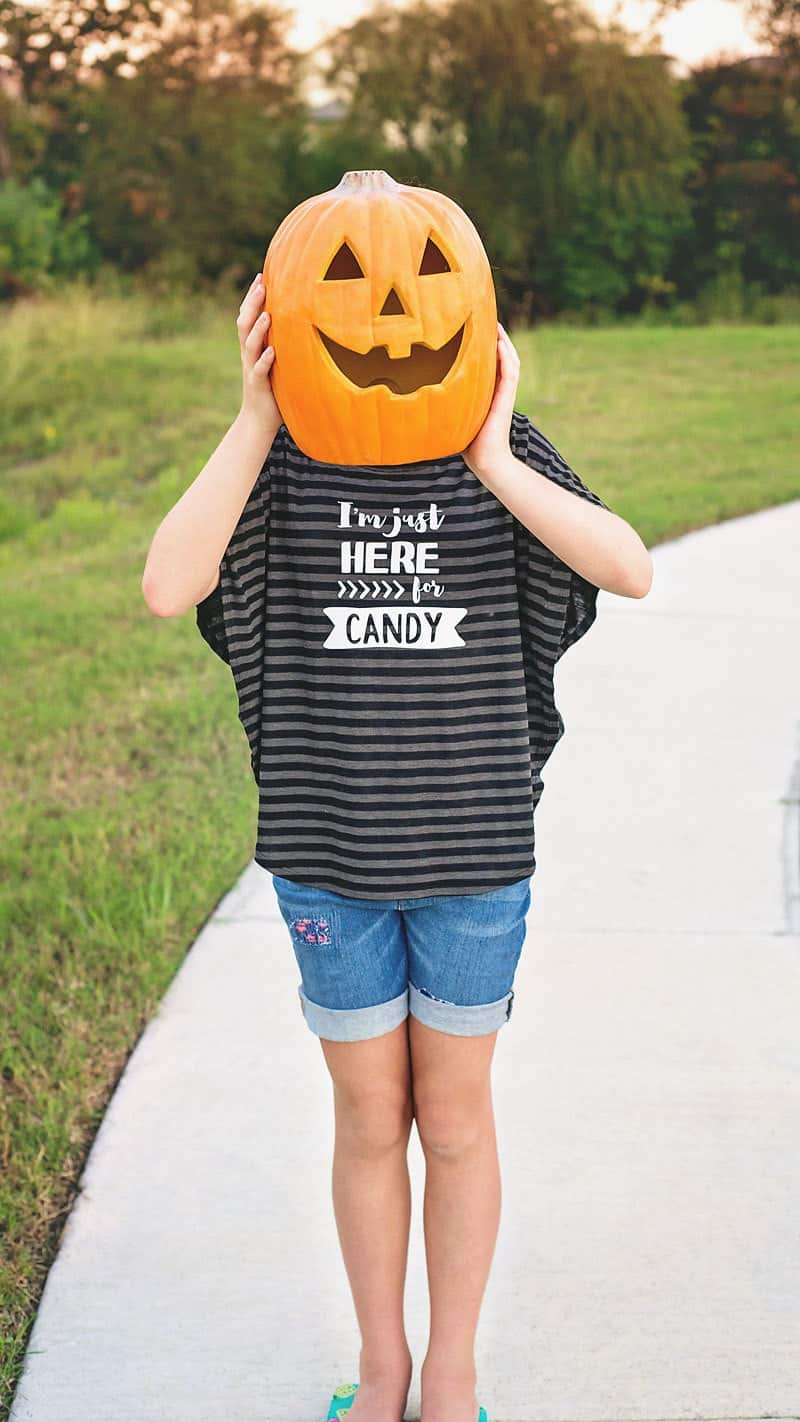 Make a Halloween T-shirt! Grab this free, I'm Just Here For The Candy SVG & PDF file to make a Halloween t-shirt, printable or Trick or Treat bag!