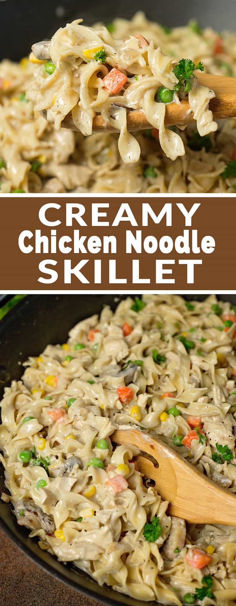 Creamy Chicken Noodle Skillet Recipe - tastes almost like chicken pot pie, but without all the work! (20 minute meal) #20minuterecipe