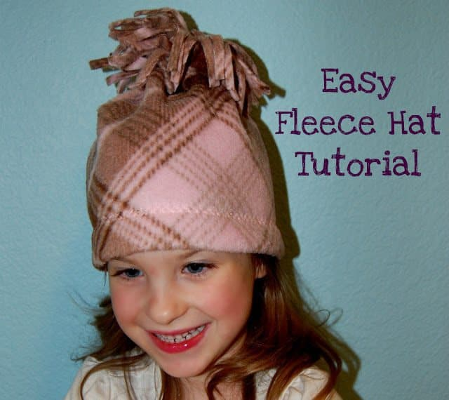 Keep the kid's ears toasty warm and learn how to make an easy fleece hat with this super easy Fleece Hat Tutorial!