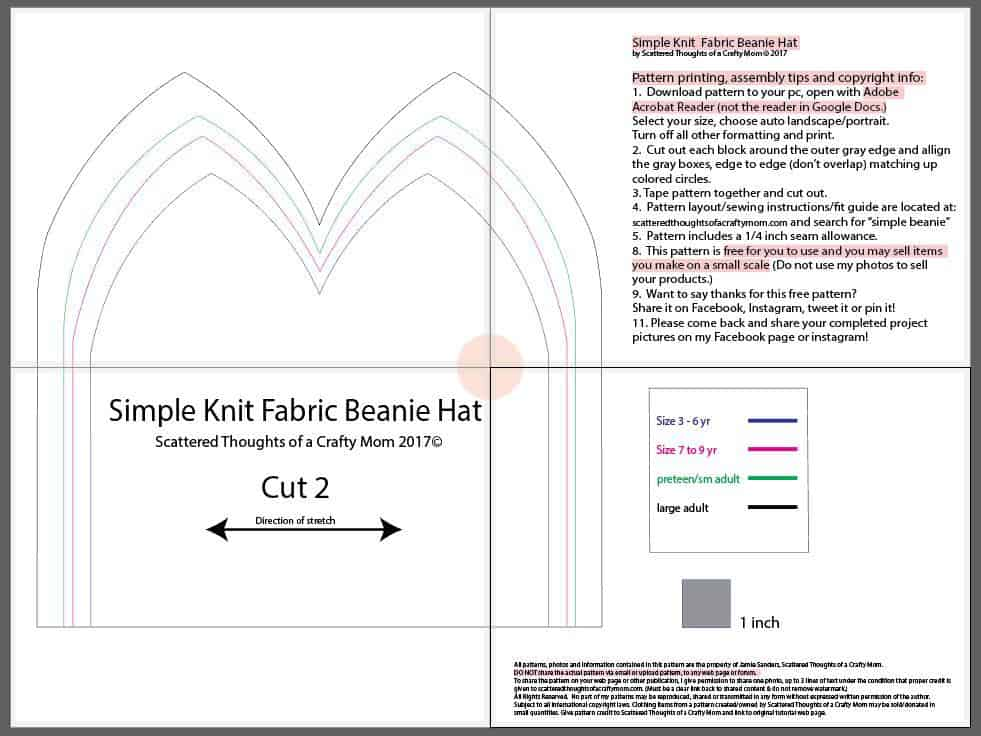 Free Beanie Hat Pattern (4 sizes) - Page 3 of 3 - Scattered Thoughts ... 167d28119e5