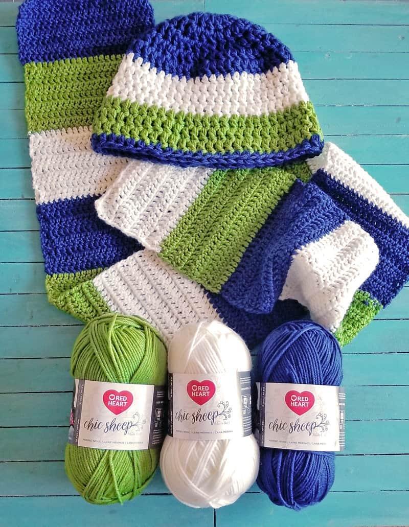For The Boys Easy Crochet Color Blocked Scarf Beanie Set