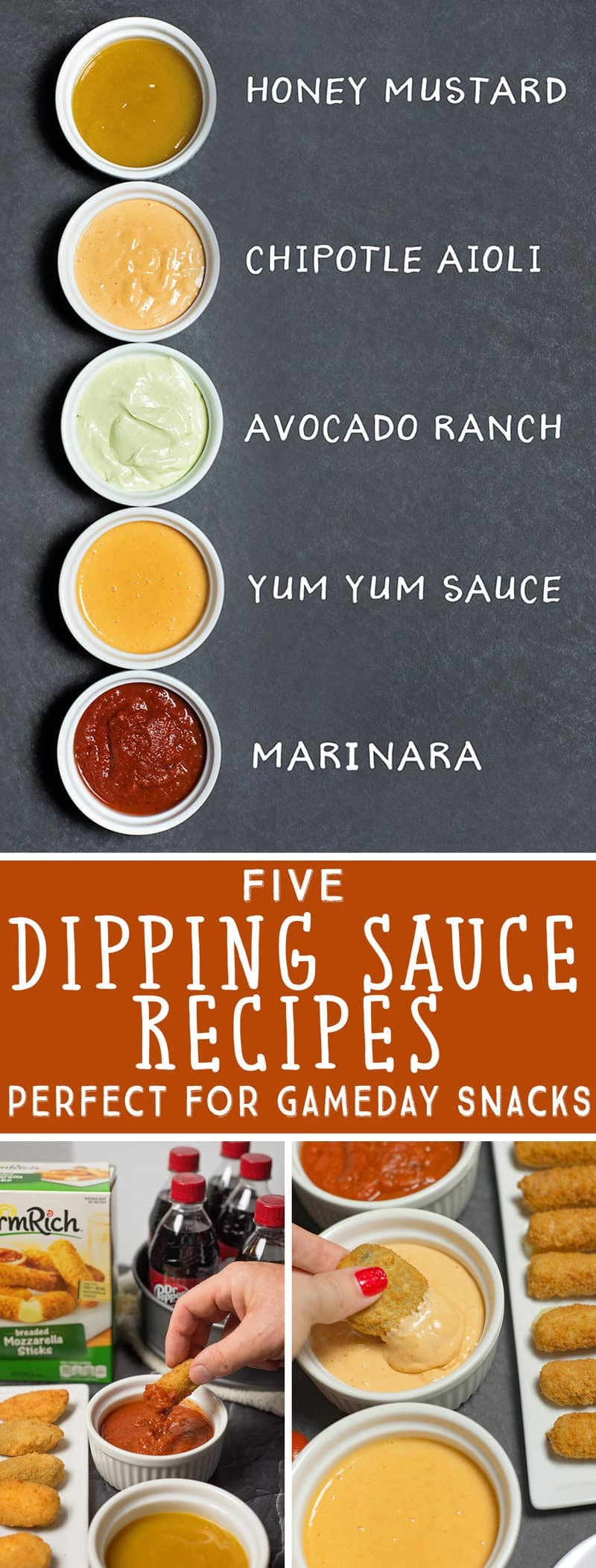 5 Easy Dipping Sauce Recipes and ideas that can be made in 5 minutes to complement almost every appetizer you're serving for gameday!