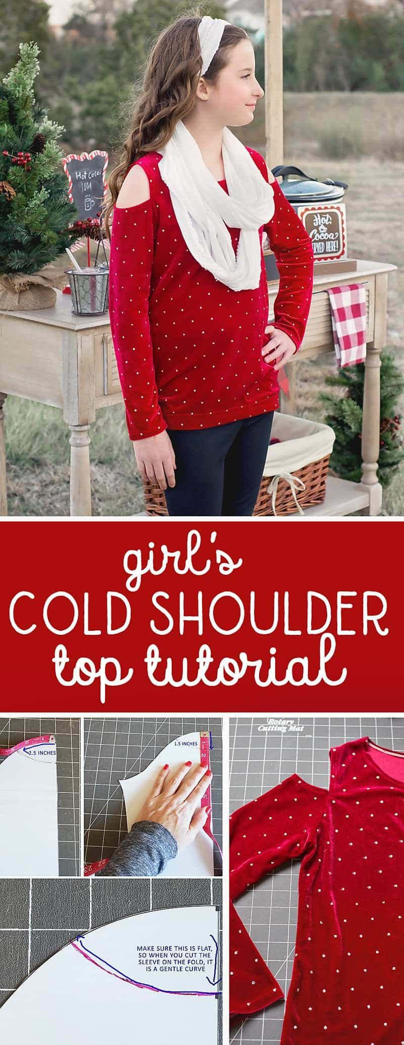 Cold Shoulder Top Tutorial: Learn how to sew a COLD SHOULDER top! Use my free t-shirt pattern or your own favorite knit top pattern! #sewing #freepattern #sewingwithknits #coldshouldertop
