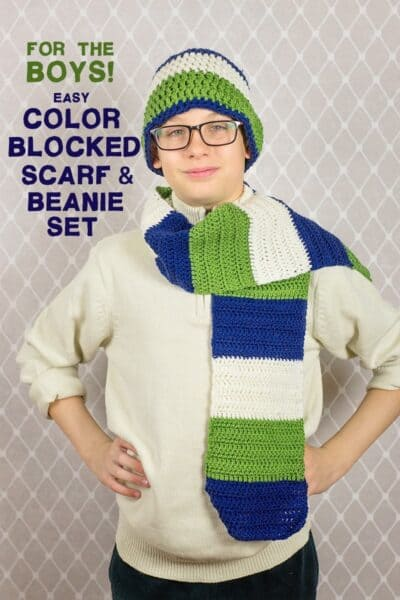 For the Boys: Easy Crochet Color Blocked Scarf & Beanie Set
