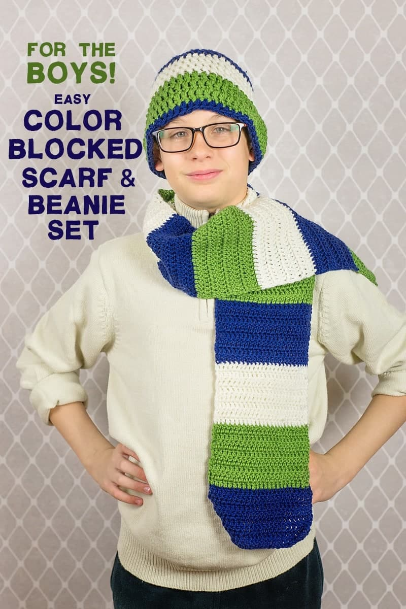 Simple Crochet Project for the boys: Easy Crochet Color Blocked Scarf and Beanie Set (tutorial and pattern)