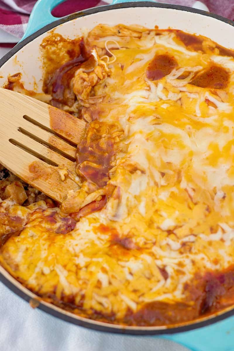 make enchiladas in the skillet (campfire recipes)