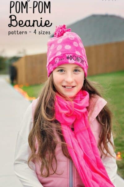 Easy Pom Pom Fleece Beanie