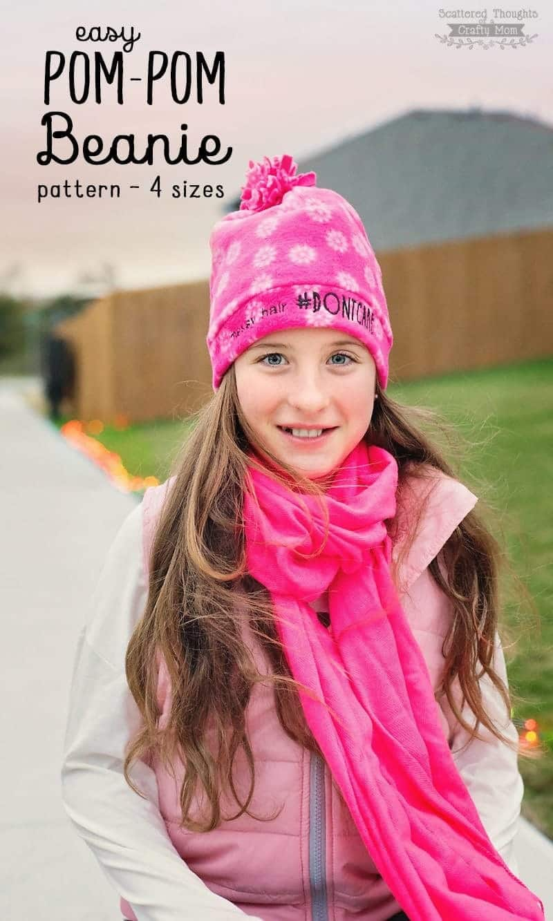 Easy Pom Pom Fleece Beanie Hat - Scattered Thoughts of a Crafty Mom ... 4c2b83fabee
