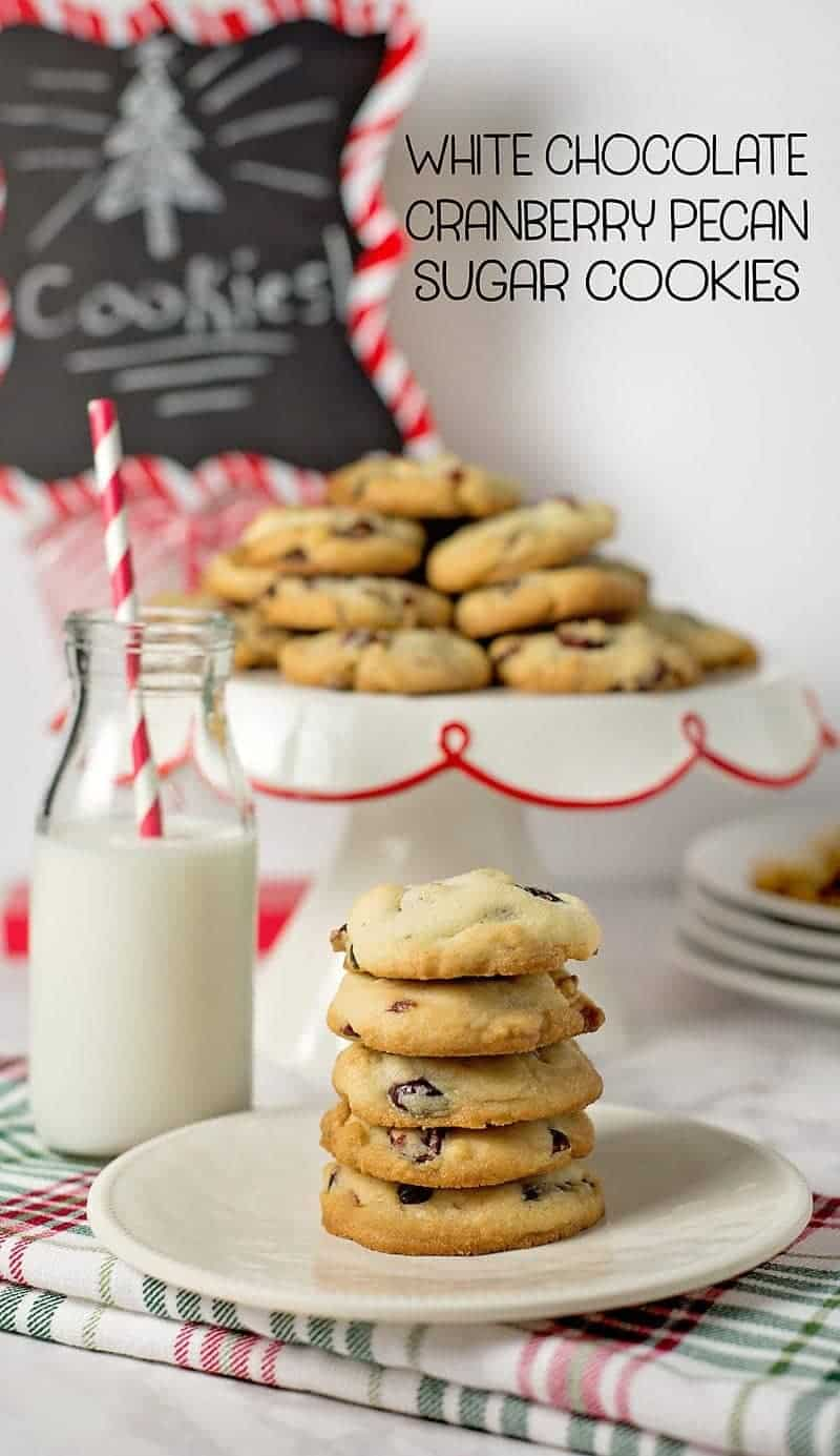 White Chocolate Cranberry Pecan Cookies w/ free printable recipe card