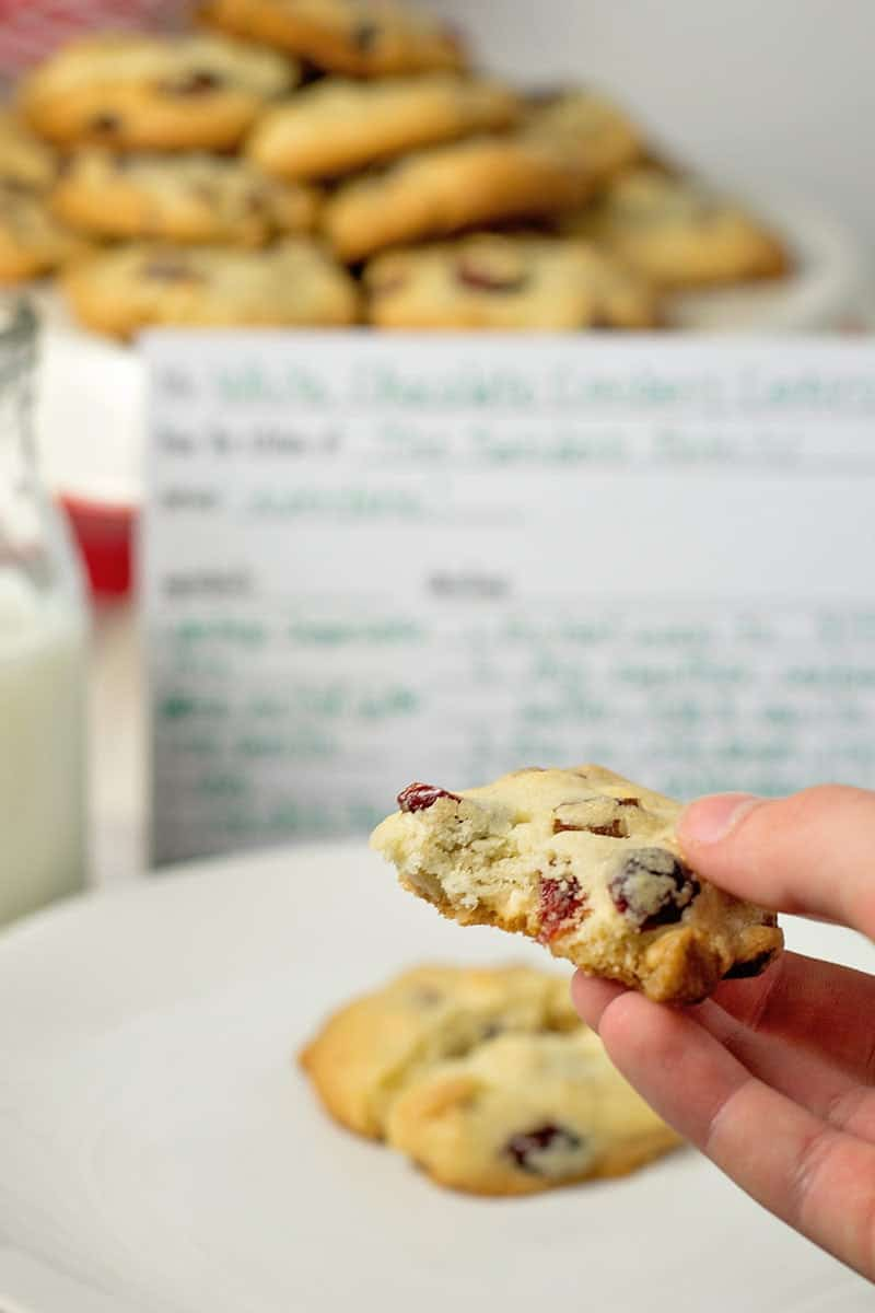 The easiest White Chocolate Cranberry Pecan Cookies ever