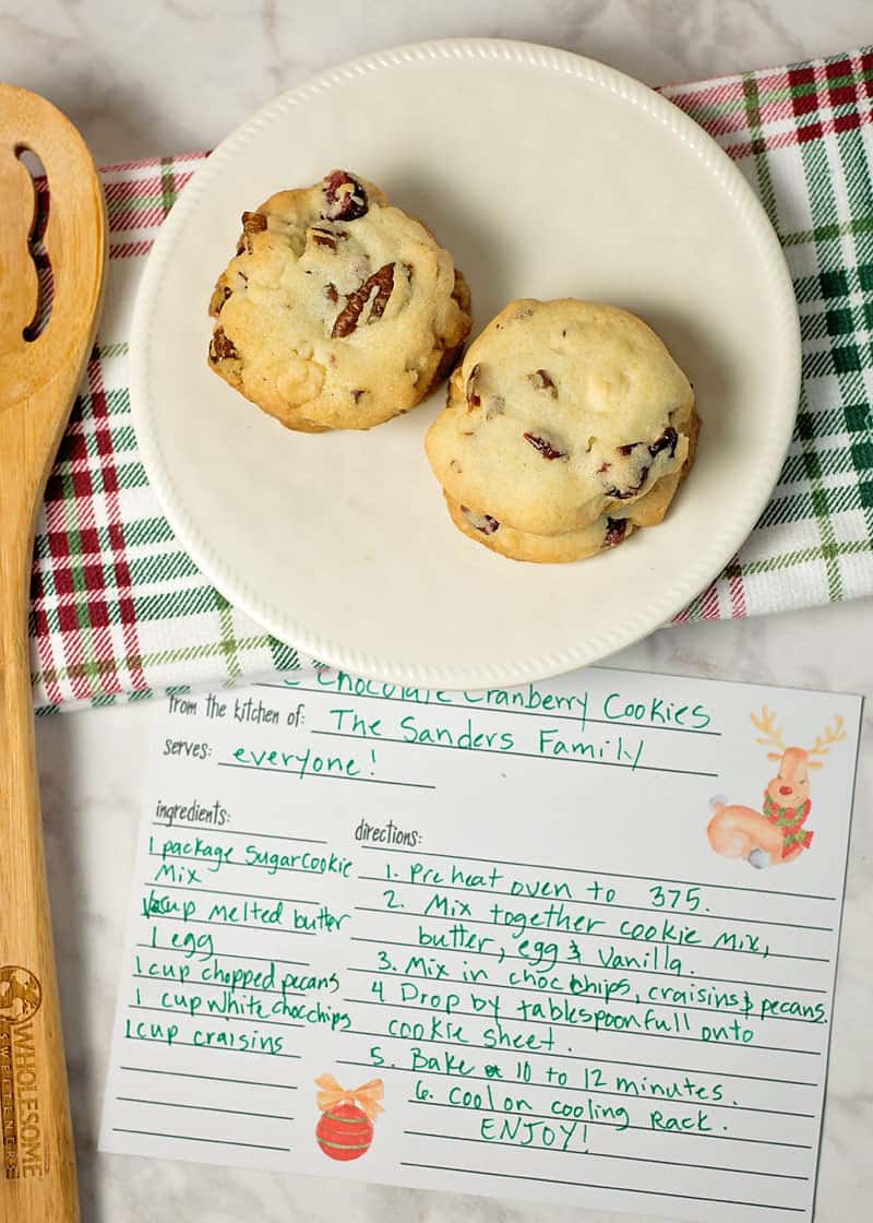 Free printable recipe card and sugar cookie mix recipe
