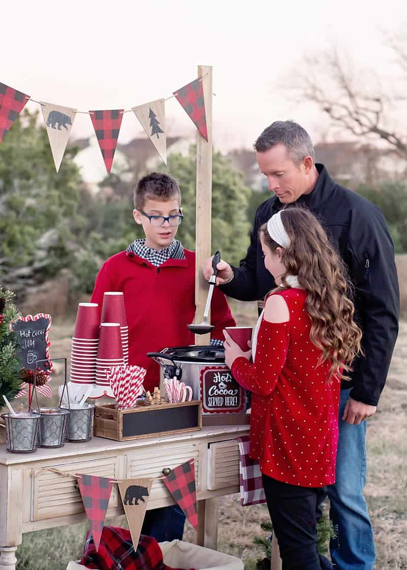 DIY outdoor hot cocoa bar