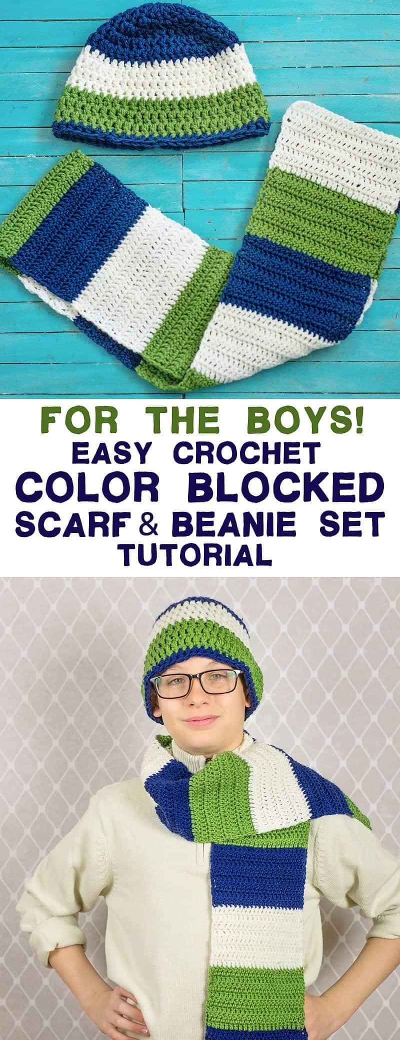 This easy crochet colorblocked scarf and beanie set is a great crochet project for boys. It's also a perfect crochet project for beginnerssince it's all double and single crochet. (free pattern and tutorial)