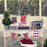 How to make an Outdoor Hot Chocolate Bar:This DIY Outdoor Hot Cocoa Bar is perfect for serving hot cocoa,coffee and other warm beverages to party guests.