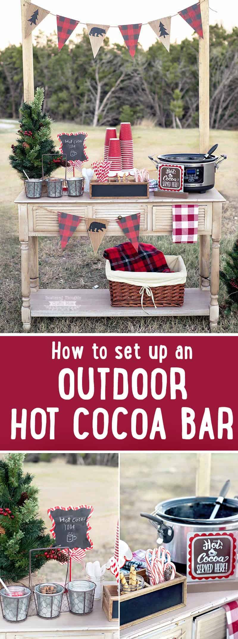 How to make an Outdoor Hot Chocolate Bar: This DIY Outdoor Hot Cocoa Bar is perfect for serving hot cocoa, coffee and other warm beverages to party guests.